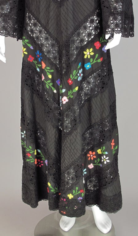 Embroidered boheimian peasant dress 1960s image 4