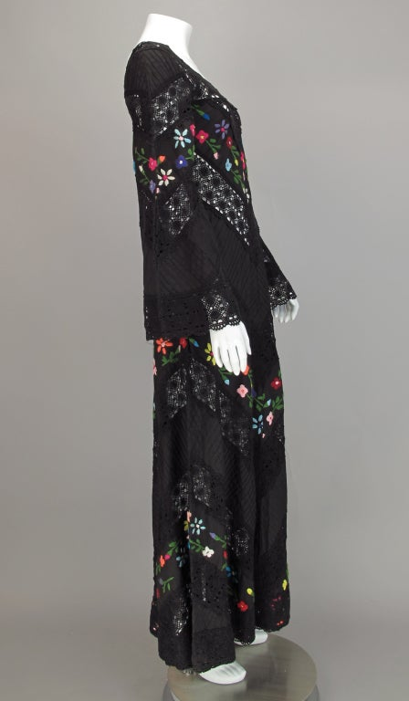 Embroidered boheimian peasant dress 1960s image 5