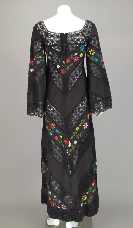 Embroidered boheimian peasant dress 1960s 6