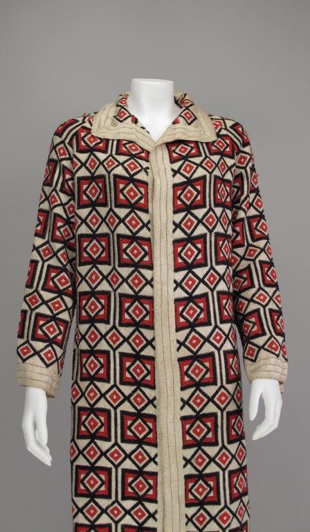 Brown 1920s  Art Deco woven wool coat For Sale