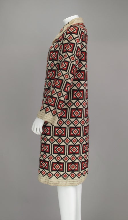 1920s  Art Deco woven wool coat For Sale 2