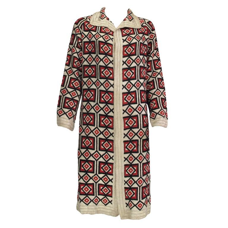 1920s  Art Deco woven wool coat For Sale