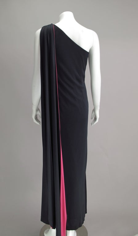 Adele Simpson Silk Jersey One Shoulder Draped Cape Gown