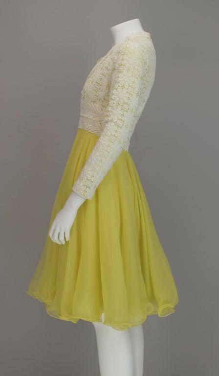 Lace And Lemon Chiffon Cocktail Dress 1960s Lillie Rubin