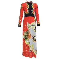 Paganne abstract jersey maxi dress 1970s