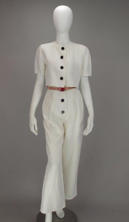 Gray Bill Blass 30s inspired linen beach PJs For Sale