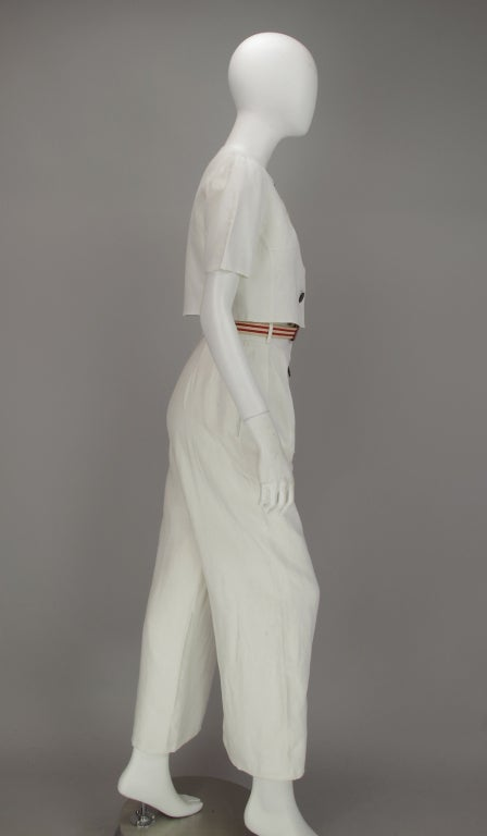Bill Blass 30s inspired linen beach PJs In Excellent Condition For Sale In West Palm Beach, FL