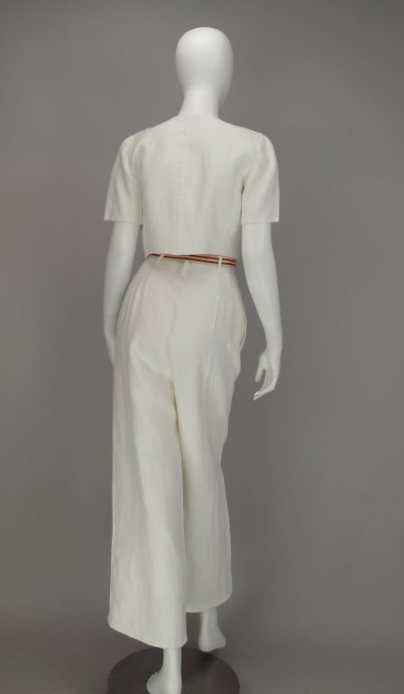Women's Bill Blass 30s inspired linen beach PJs For Sale