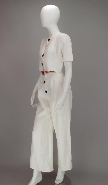 Bill Blass 30s inspired linen beach PJs For Sale 3