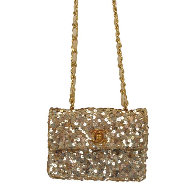 chanel micro mini gold sequin flap shoulder evening