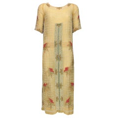 1920s House of Adair Art Deco beaded cotton dress