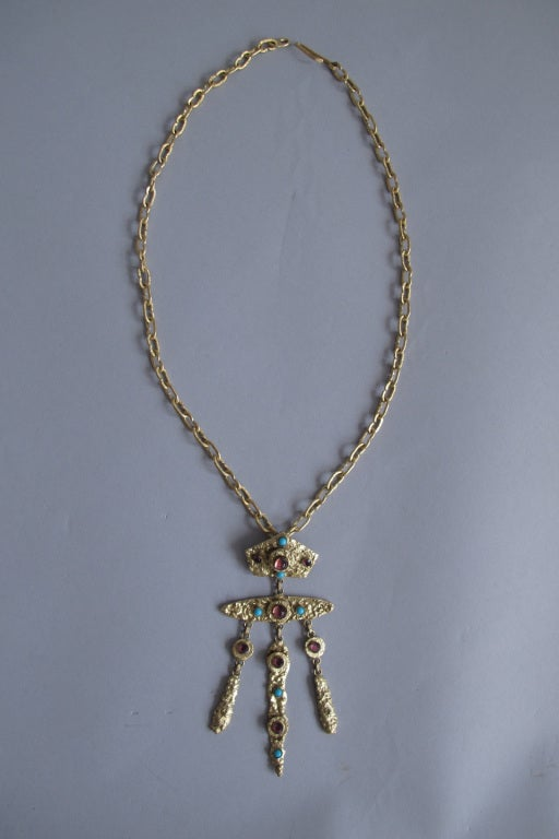 Henry Perichon gilded metal handmade one of a kind necklace made in France 1960s In Excellent Condition For Sale In West Palm Beach, FL