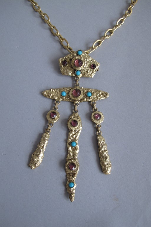 Women's Henry Perichon gilded metal handmade one of a kind necklace made in France 1960s For Sale