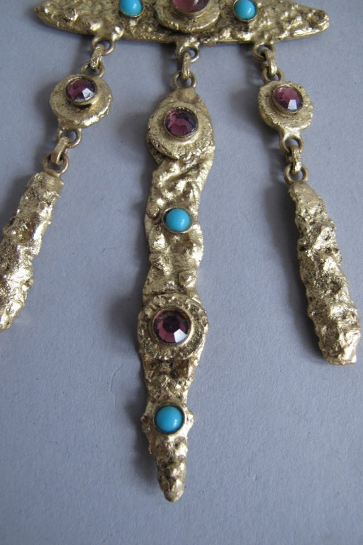 Henry Perichon gilded metal handmade one of a kind necklace made in France 1960s For Sale 1