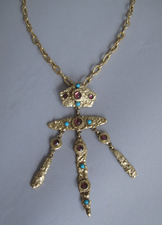 Henry Perichon gilded metal handmade one of a kind necklace made in France 1960s...A beautiful necklace with a renaissance feel, gold chain with a pendant drop that can also be worn as a pin...The necklace has an artisan feel, the drop is set with