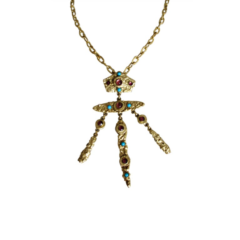 Henry Perichon gilded metal handmade one of a kind necklace made in France 1960s For Sale