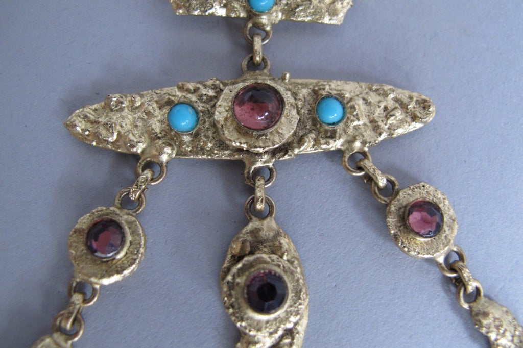 Henry Perichon gilded metal handmade one of a kind necklace made in France 1960s 6