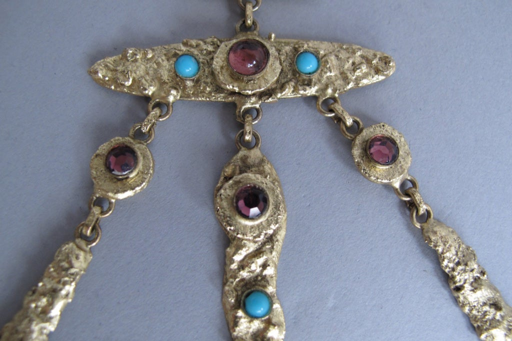 Henry Perichon gilded metal handmade one of a kind necklace made in France 1960s For Sale 3