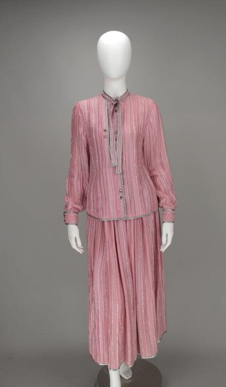 1970s Geoffrey Beene 2pc set in pink & silver lurex 10