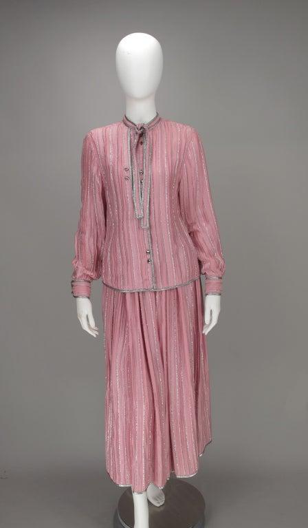 1970s Geoffrey Beene 2pc set in pink & silver lurex 2