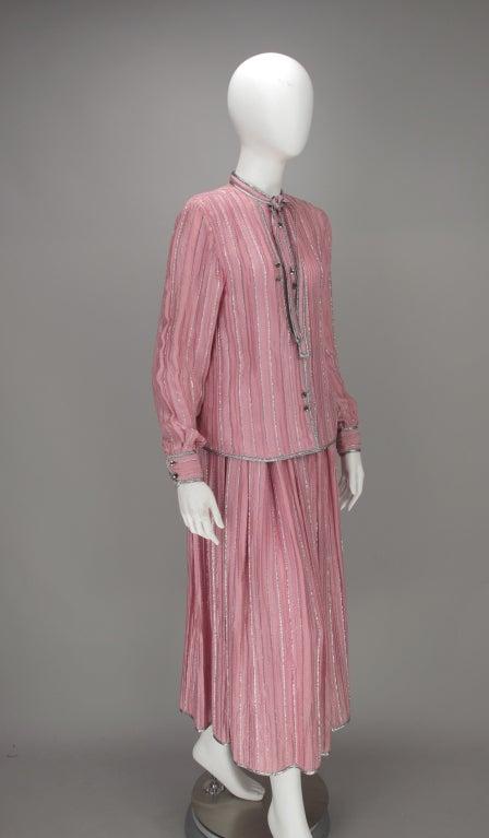 1970s Geoffrey Beene 2pc set in pink & silver lurex 3