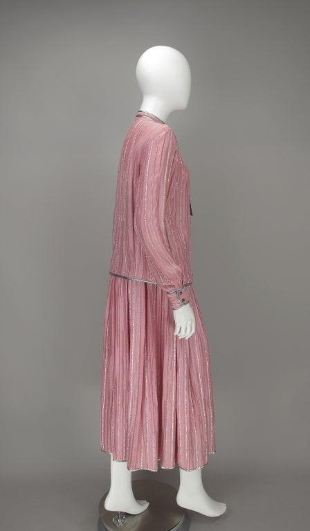 1970s Geoffrey Beene 2pc set in pink & silver lurex 4