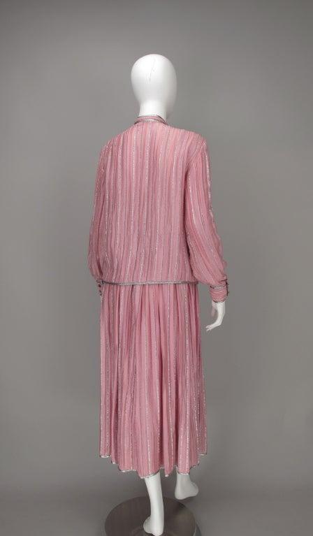 1970s Geoffrey Beene 2pc set in pink & silver lurex 5