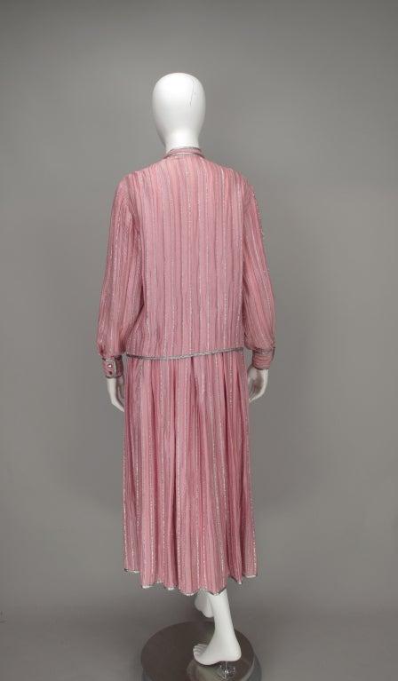 1970s Geoffrey Beene 2pc set in pink & silver lurex 6