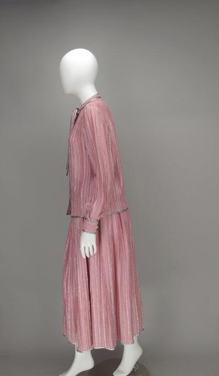 1970s Geoffrey Beene 2pc set in pink & silver lurex 7