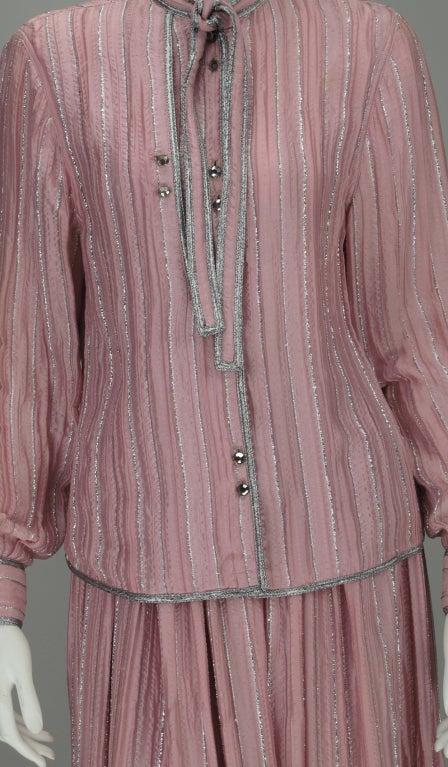 1970s Geoffrey Beene 2pc set in pink & silver lurex 8