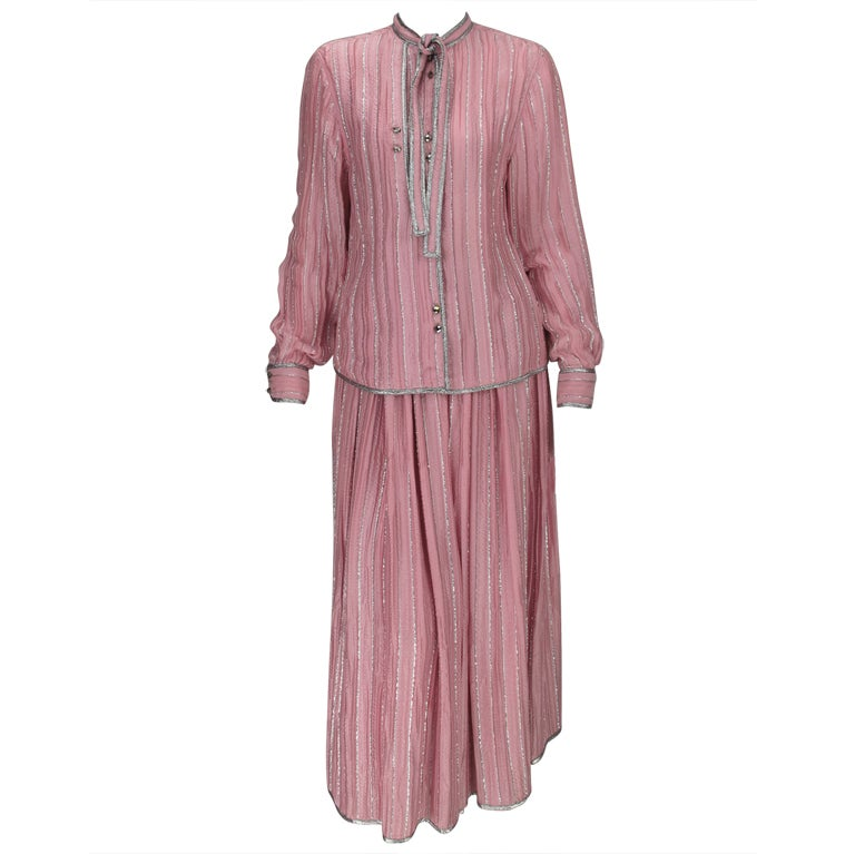 1970s Geoffrey Beene 2pc set in pink & silver lurex