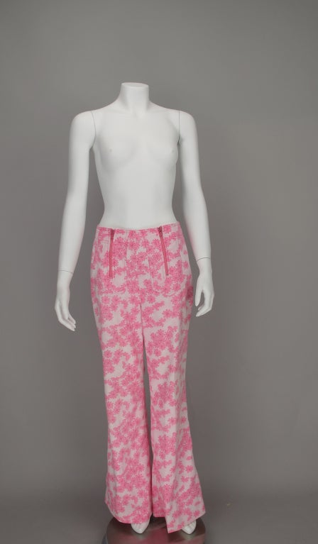 Women's 1960s Lilly Pulitzer floral bell bottoms