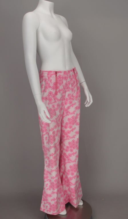1960s Lilly Pulitzer floral bell bottoms For Sale 1