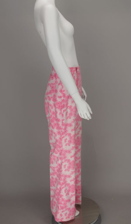 1960s Lilly Pulitzer floral bell bottoms For Sale 2