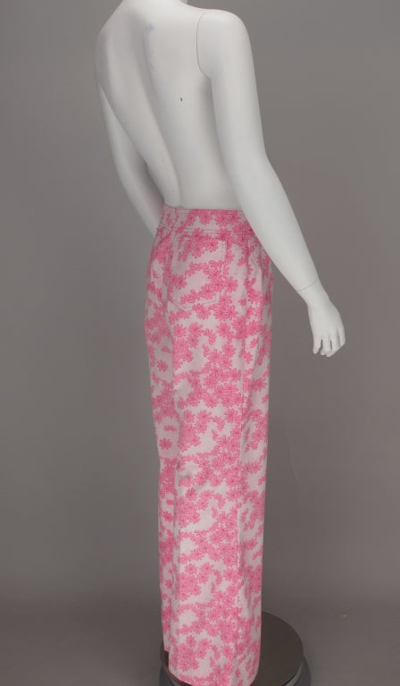 1960s Lilly Pulitzer floral bell bottoms For Sale 3