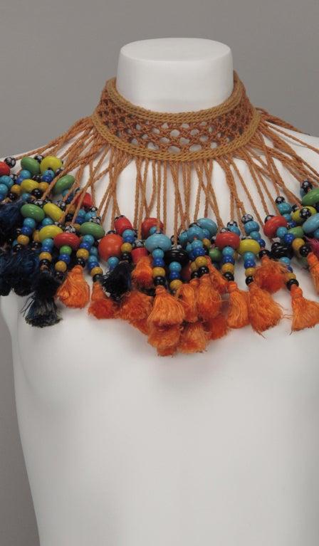 Vintage tribal glass beaded tassel necklace 3