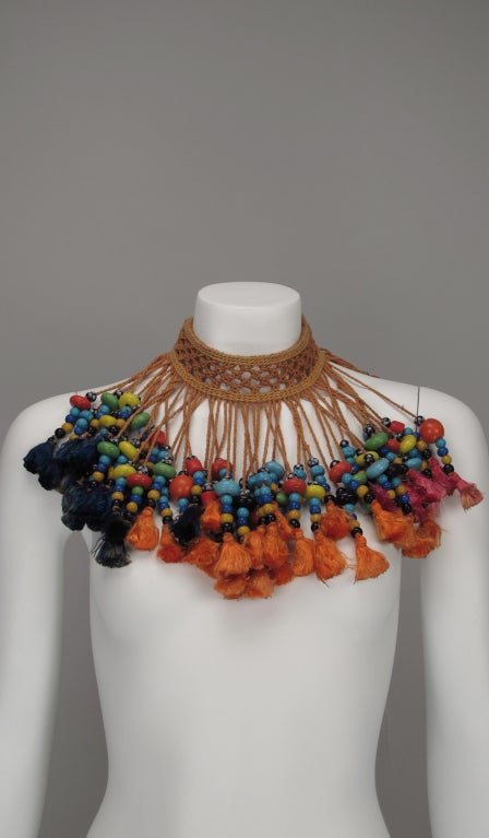 Vintage tribal glass beaded tassel necklace 4