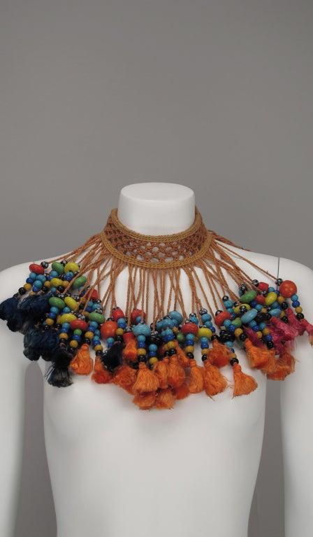 Vintage tribal glass beaded tassel necklace 5