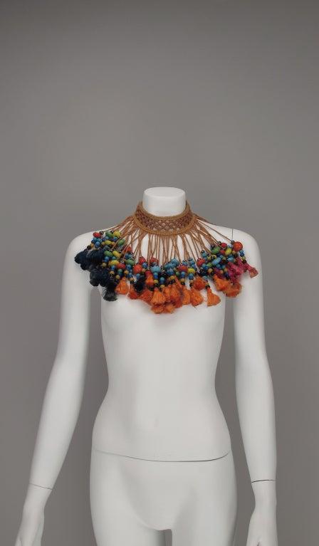Vintage tribal glass beaded tassel necklace 6