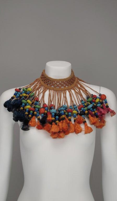 Vintage tribal glass beaded tassel necklace 7