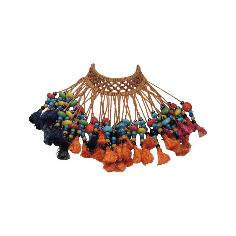 Vintage tribal glass beaded tassel necklace 1