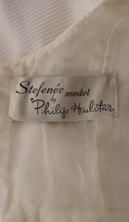 1960s Philip Hulitar lace applique cocktail dress For Sale 5