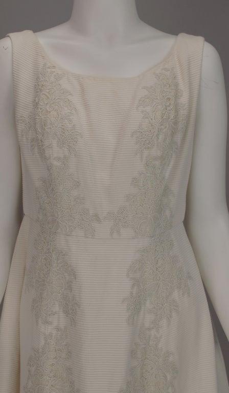 Beige 1960s Philip Hulitar lace applique cocktail dress For Sale