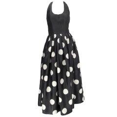 James Purcell polka dot halter dress