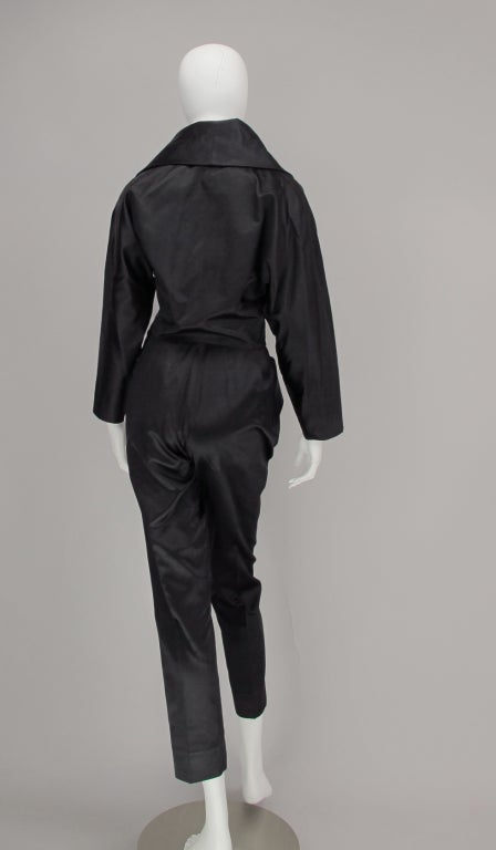 Women's 1980s Vicky Tiel black silk cropped pant set For Sale