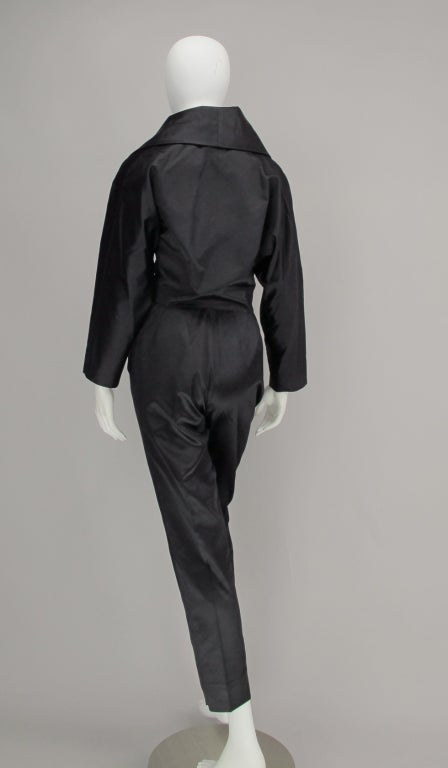 1980s Vicky Tiel black silk cropped pant set For Sale 1