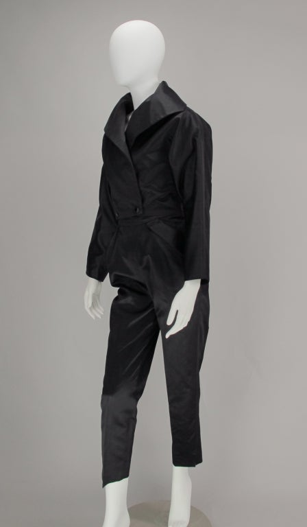 1980s Vicky Tiel black silk cropped pant set For Sale 3