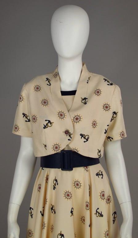 1950s silk nautical theme dress 10