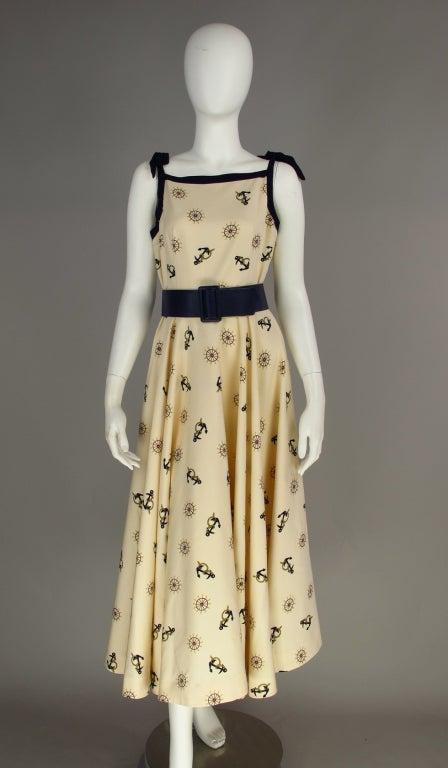 1950s Silk Nautical Theme Dress Image 2
