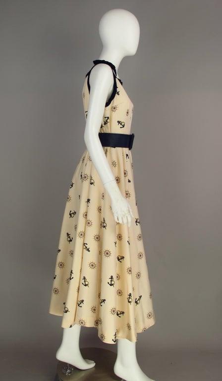1950s silk nautical theme dress 4